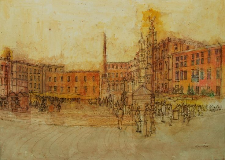 """title: """"Navona Place""""Roma  watercolor / acquarelle height: 60 cm  width:  45 cm made by Enrico Napoletano  in Florence (Italy); photo by EN unique piece"""