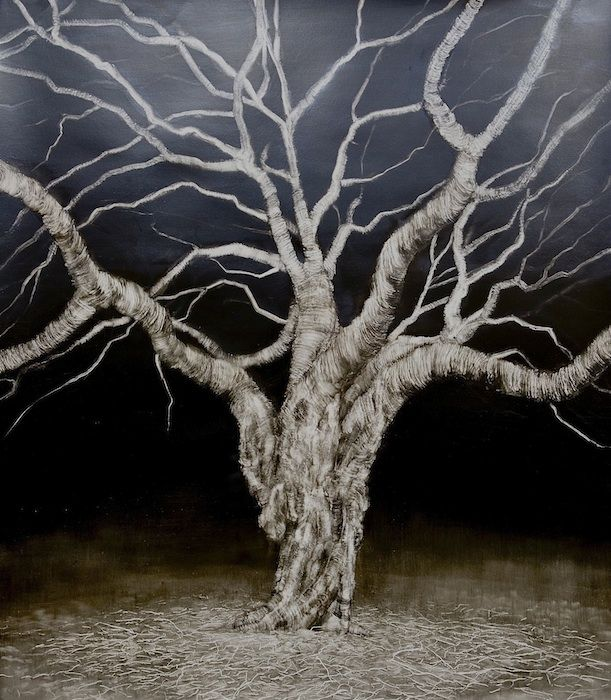 Tree-Sentinel oil on paper nicholas blowers