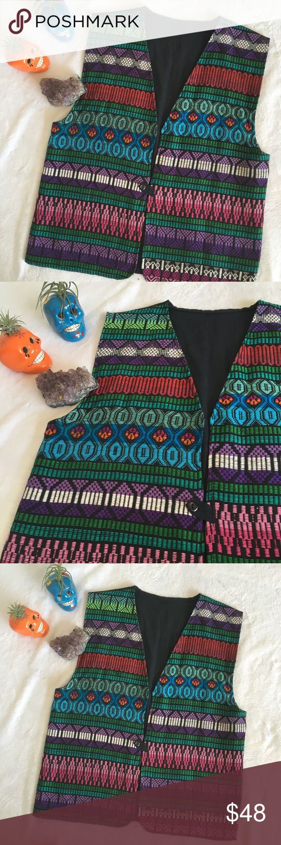 """Guatemalan embroidered festival tribal vest Awesome colorful vintage Guatemalan embroidered men's vest. Beautiful geometric pattern embroidered front with single button closure and plain black back fabric. Perfect for upcoming festival season, Burning Man, Coachella etc. One of a kind item! Excellent condition, no flaws. Chest measures 20"""" lying flat. Men's Medium. Vintage Jackets & Coats Vests"""