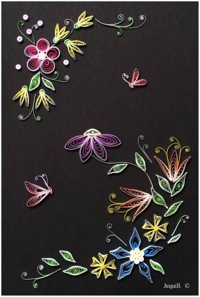 Paper quilled designs pretty on black paper