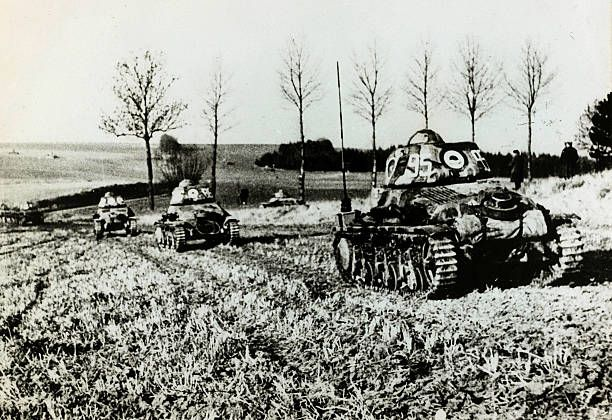 9th January 1940, A line of French tanks manouevring on the western front, Germany's victory in France in 1940 followed the 'Phoney War, (September 1939-April 1940) and the German breakthrough accomplished at great speed meant France was forced to surrender in June 1940 - pin by Paolo Marzioli