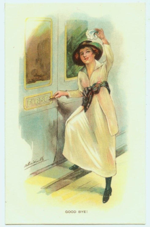 """Wimble postcard - pretty lady boarding train circa 1920's """"Good Bye"""""""