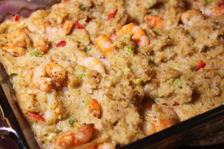Shrimp and Grits Dressing -- 1 lb peeled, medium-size raw shrimp; 3 C chicken broth; 1/2 tsp salt; 1/4 tsp ground red pepper; 1 C uncooked regular grits; 1/2 C butter; 3 large eggs, lightly beaten; 1 red bell pepper, diced; 1 C fine, dry breadcrumbs; 1 C chopped vidalia onion; 1/2 C grated Parmesan cheese.