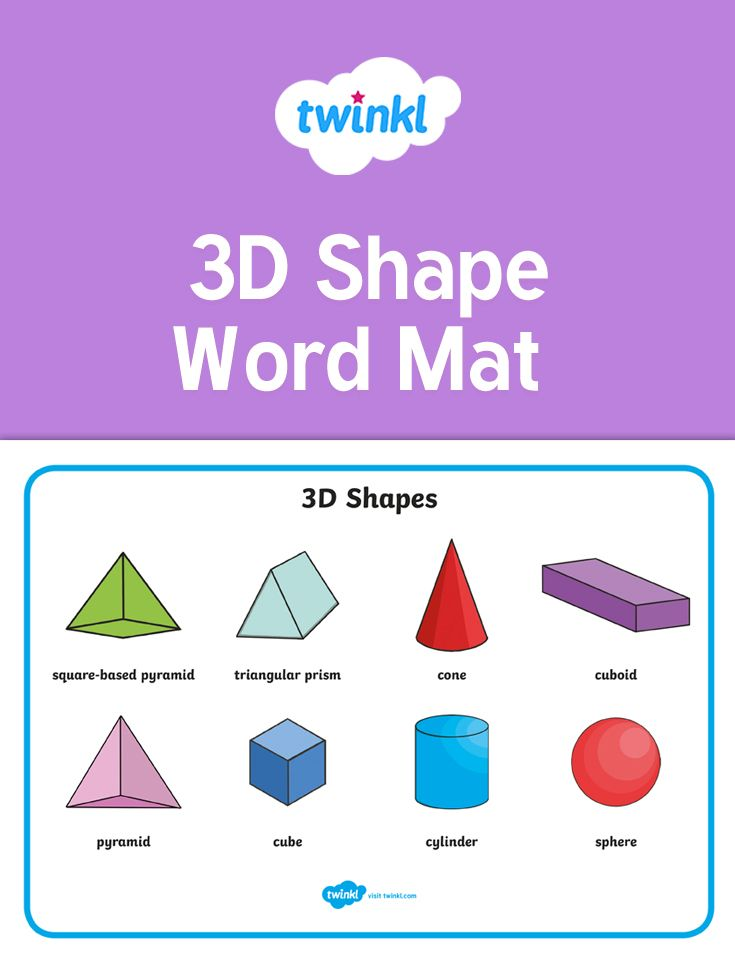 An Attractive Word Mat Featuring All The Common 3d Shape Names And Accompanying Pictures A Great Aid For Indepen 3d Shape Math Activities 3d Shapes Activities