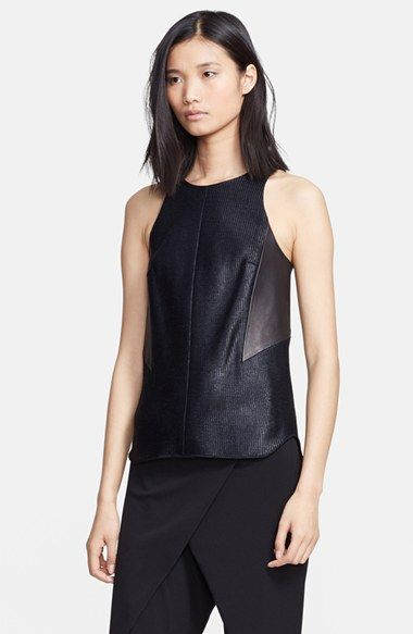 rag & bone 'Adeline' Leather Inset Woven Tank available at #Nordstrom