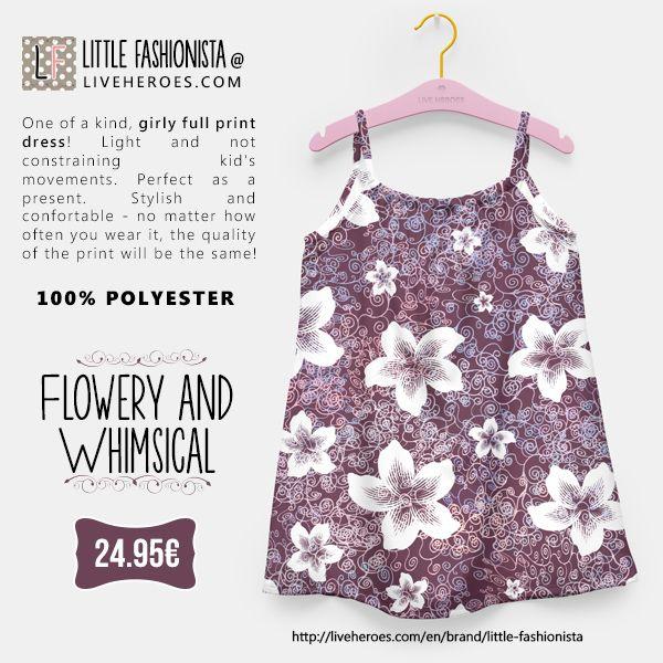#flowers #floral #whimsical #convoluted #decorated #modern #elegant #cute #girly #stylish #exotic #girldress #dress #liveheroes #liveheroesshop #littlefashionista
