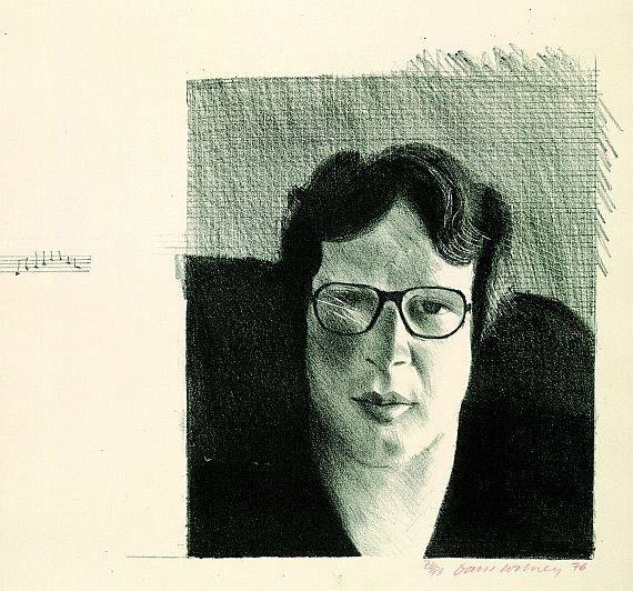 David Hockney  1937 Bradford - lebt und arbeitet in London und Los Angeles  Michael Crichton. 1976.  Lithografie.