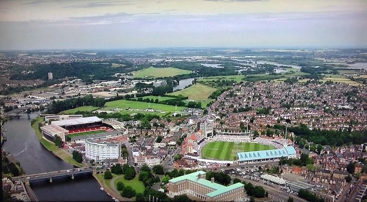 River Trent, Trent Bridge, City Ground and West Bridgford, Nottingham.