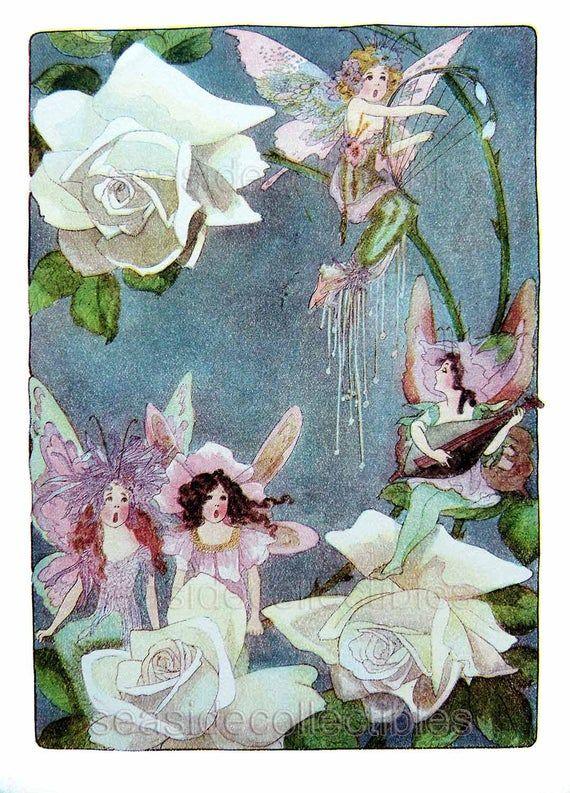 Early 1900s Moonlight Singing Fairy Serenade Book Art By A M Scott Rose Fuchsia Flower Fairies August September Music Art Deco 1st Edition In 2020 Art Pages Old Book Art Book Art