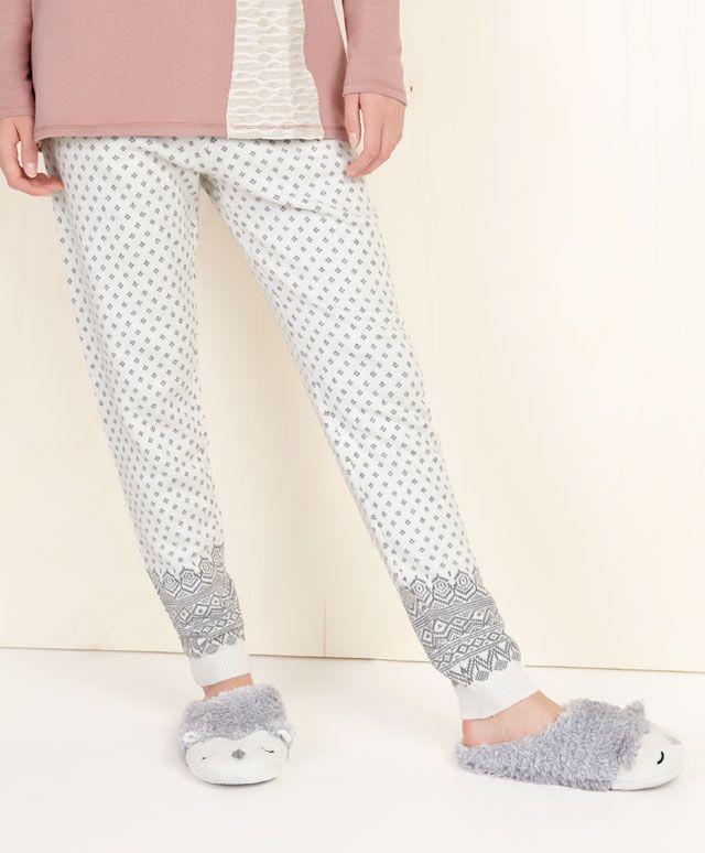 W15-16 Серые жаккардовые брюки - OYSHO