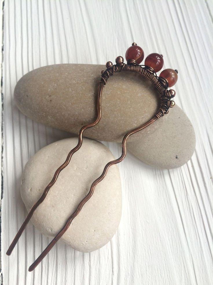 Купить Шпилька с сердоликом - оранжевый, рыжий, Сердолик, шпилька, медная шпилька, украшение для волос, этно