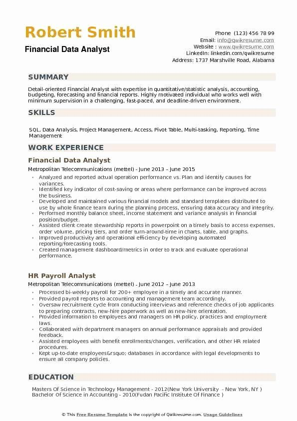 Financial Analyst Resume Summary New Financial Data Analyst Resume Samples In 2020 Resume Summary Examples Resume Examples Resume Summary