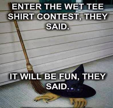 Enter the wet tee shirt contest, they said. It will be fun, they said...