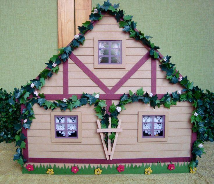 """Sylvanian """"Mushroom house"""" for mice made by me.  Раритетный домик Sylvanian Families. Отделка  бумагой для скрапа, фетровым декором и миниатюрным плющом."""