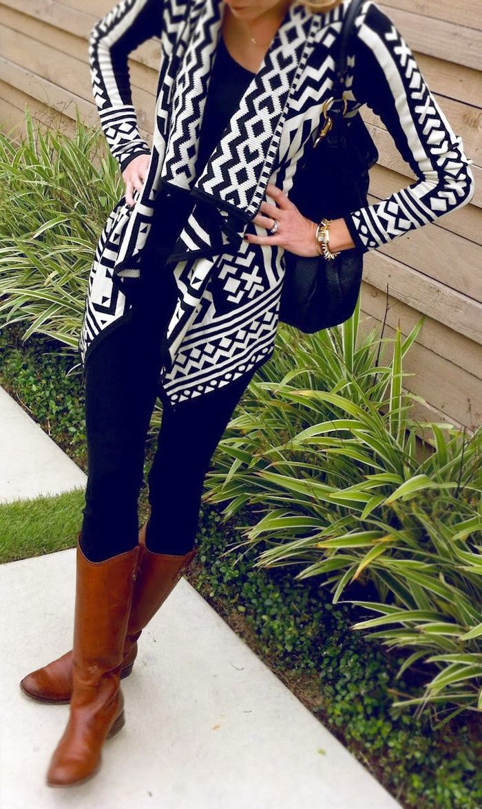 cardigan black blouse pant and long boots