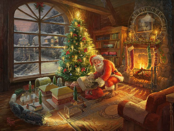 Nothing matches a child's excitement like finding a Lionel Train under the tree on Christmas morning. In Santa's Special Delivery, Thomas Kinkade Studios captures the magic of Christmas Eve and Electric Trains. In this nostalgic painting, set in Lionel's Prewar Tin Plate Era, we find Santa Claus leaving a family with a special package. Santa's rosy cheeks glow as he pulls a brand new Lionel Electric Train Set out of his bag – a prized gift that every collector young and old wishes for…