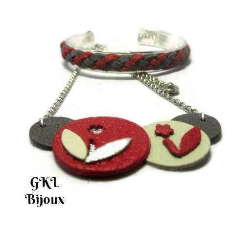 Voici ce que je viens d'ajouter dans ma boutique #etsy : Collier cuir, collier femme, forme de cuir rond, travail emporte-pièce, fleurs, rouge, gris et argenté, chaîne jaseron http://etsy.me/2EipiDn