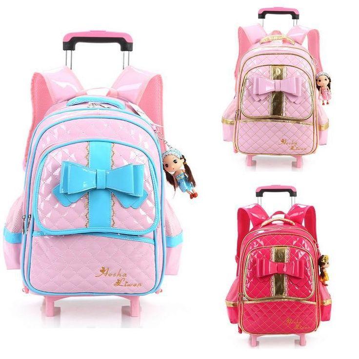 68.90$  Watch here - http://aliktr.worldwells.pw/go.php?t=32602446517 - PU Leather waterproof Mochila Rodinha Infantil Escolar Girls Children School Backpack With Wheels kids princess Trolley Bags 68.90$