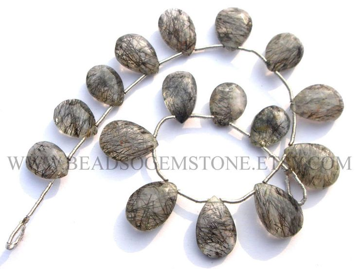 Tourmalinated Quartz Faceted Pear (Quality A) / 8.50x11.50 to 10.50x16 mm / 18 cm / TO-059 by beadsogemstone on Etsy