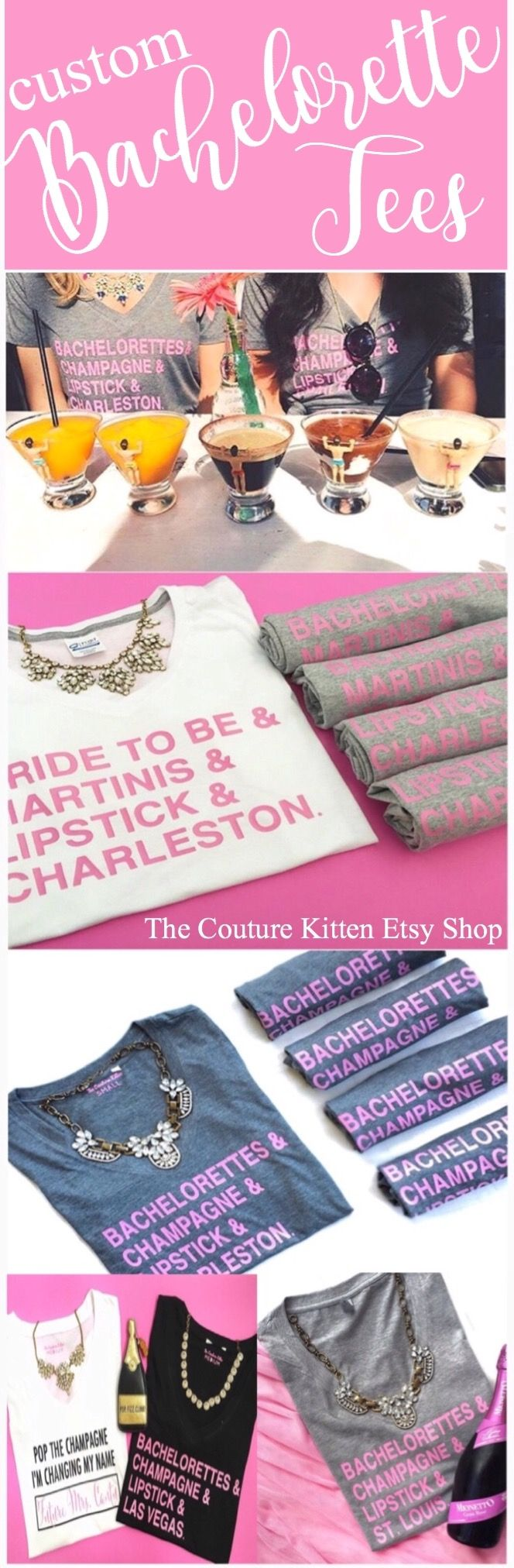 Wherever you go for your BACHELORETTE PARTY, take The Couture Kitten Etsy Shop's CUSTOM BACHELORETTE TEES with you!  Bachelorette Party Bachelorette Weekend Bachelorette Tees Nashville Bachelorette Charleston Bachelorette Las Vegas Bachelorette St. Louis Bachelorette Savannah Bachelorette NYC Bachelorette New Orleans Bachelorette NOLA Bachelorette Bride Tee Bridesmaid Tee Bachelorette Shirt Bride Shirt Bridesmaid Shirt