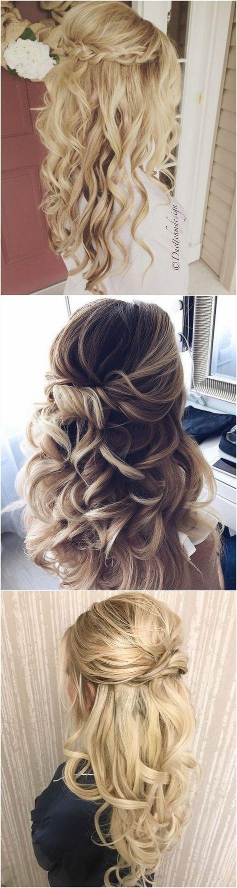 50+ einfach halb hoch halb runter Hochzeitsfrisuren   – Brautfrisuren   Bridal Hairstyle