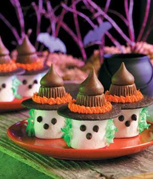 no-bake-marshmallow-witches, love these and they were fun to make and was just right  for the kids  party last year