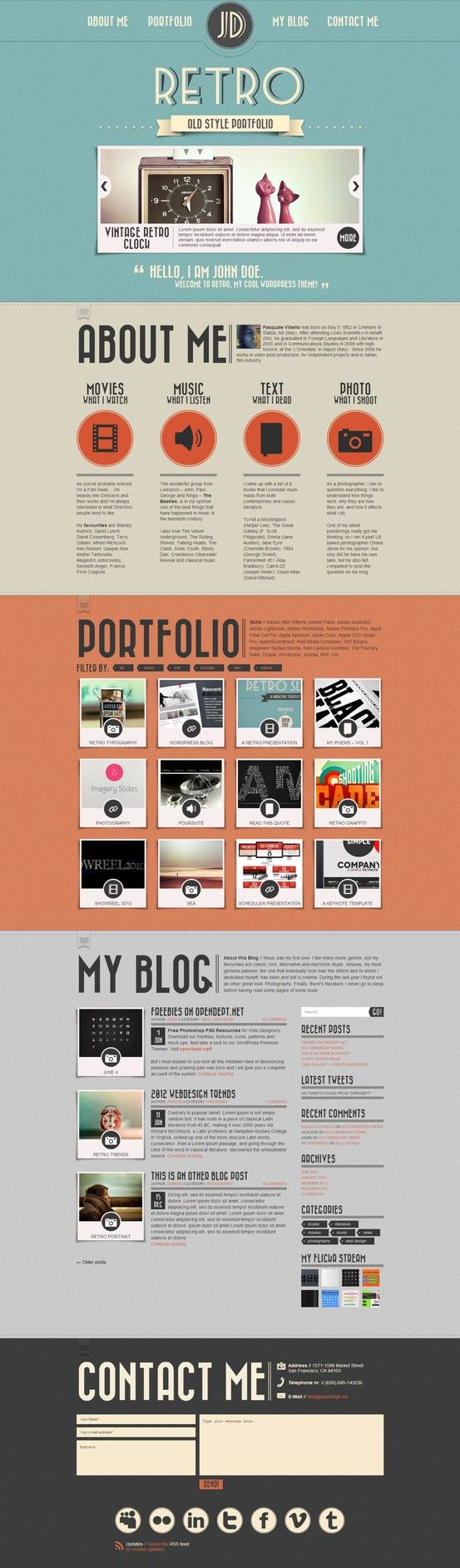 Retro Portfolio - One Page Vintage #Wordpress Theme