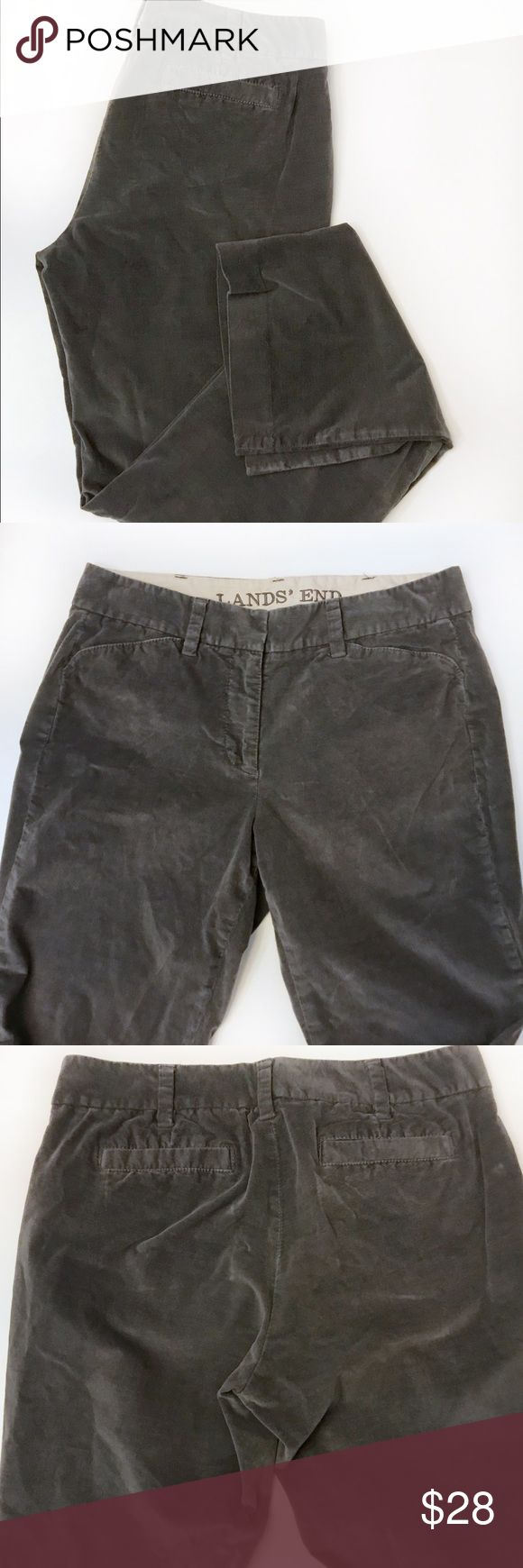 """LANDS' END Gray Velveteen Pant, Women's 6 DESCRIPTIONS: LANDS' END Gray velveteen pant; 4 pockets. MEASUREMENTS: 15"""" Waist; 30"""" Inseam; 9"""" Rise.          MATERIALS: 98% Baumwolle; 2% Elasthan; Machine wash.  CONDITIONS: Good condition; Shows normal signs of wear; Lands' End Pants Boot Cut & Flare"""