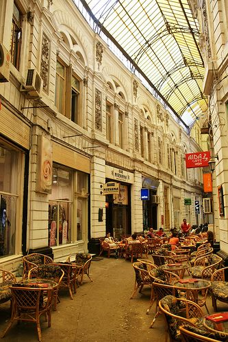Macca-Vilacrosse Passage, Bucharest, Romania. This is one of the must-go, must-see places in Bucharest. All the spaces in the passage are occupied by cafes and antique shops.