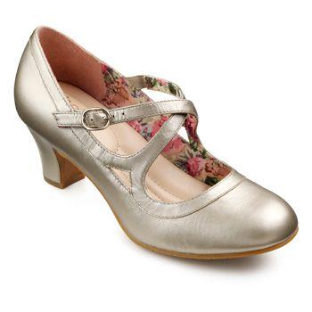 Art Deco 1920s style shoes : Florielle Shoes  - Adjustable stretch strap - Soft Gold size 9 $70.00 AT vintagedancer.com