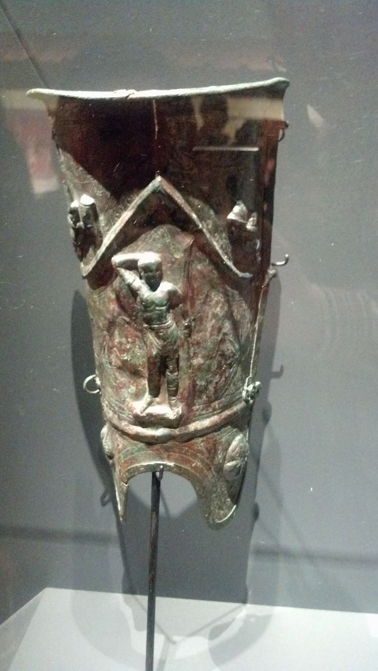 Pompeii: gladiator shin guard. Photo by Daniel McCrary (A Day in Pompeii Exhibit : Denver Mus of Nature & Science) ~DM