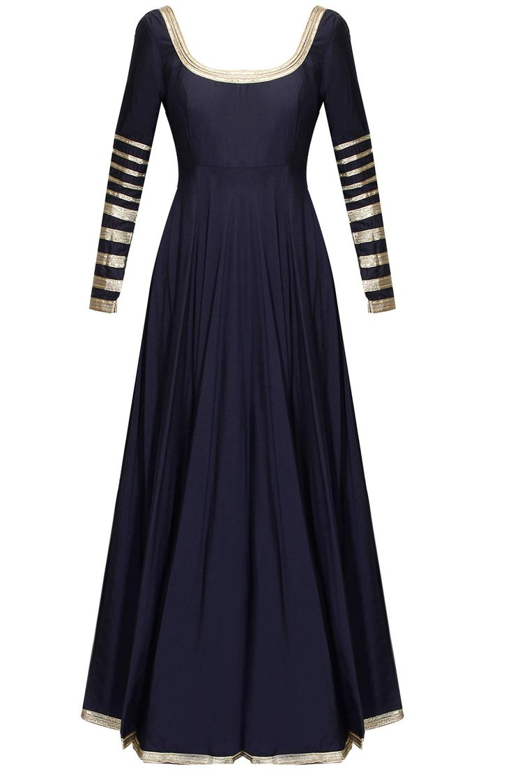 Navy blue embroidered anarkali suit by Abhinav Mishra.  Shop at : http://www.perniaspopupshop.com/designers/abhinav-mishra  #shopnow #perniaspopupshop #abhinavmishra