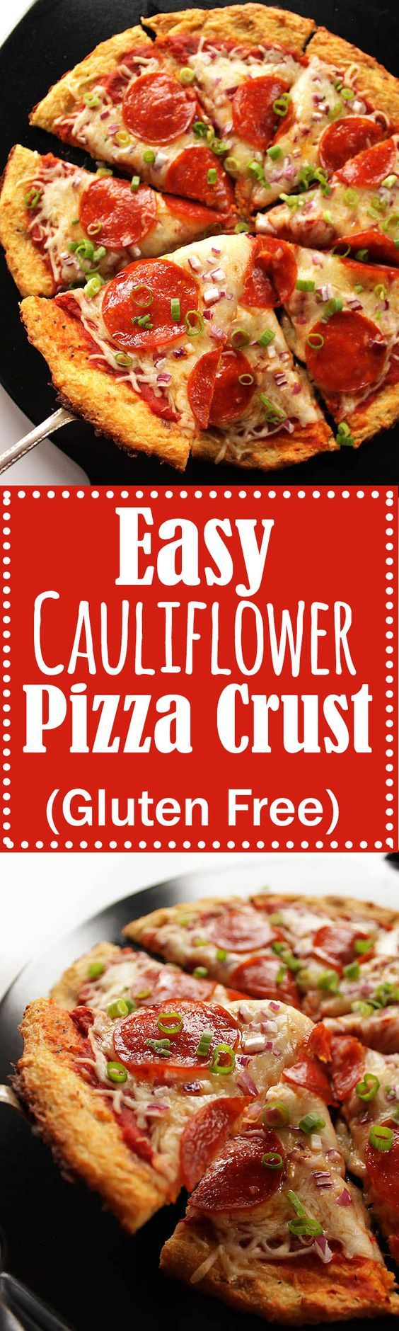 Easy Cauliflower Pizza Crust - The trick is to use frozen, thawed cauliflower florets! A HEALTHY, delicious, pizza crust that won't fall apart! Gluten Free | robustrecipes.com