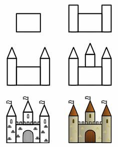 Castle - I do this as one of my first intro lessons with 1st graders -- it's a good way to see how they can follow directions. Advanced kids can add lot of details like a dragon...plants etc.. don't forget the HORIZON LINE to add a sense of space.