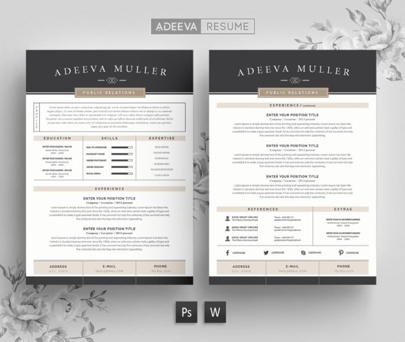 Modern Resume Template Lila by AdeevaResume on @creativemarket