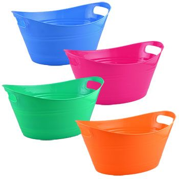 Bulk Colorful Oval Plastic Storage Tubs with Handles at DollarTree.com