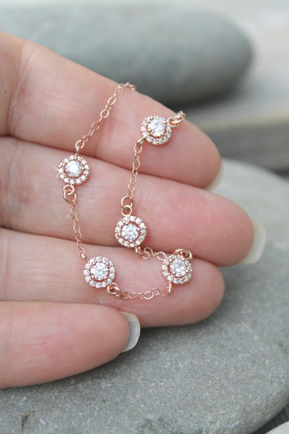 Dainty 14k rose gold filled bracelet with cubic zirconia connectors, pink gold, cz diamonds, delicate and feminine and great for layering