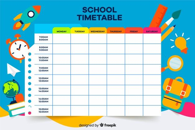 Download Colorful School Timetable Template Flat Design For Free