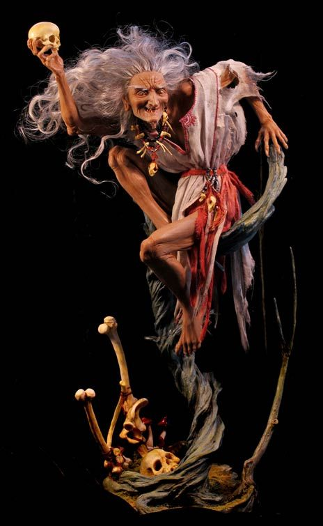 Forest Rogers is a talented sculptor and artist. This is her amazing polymer clay model of Baba Yaga.