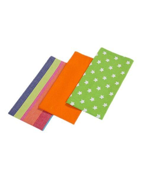Cotton Stars Lime Green Orange Tea Towels Set Of Three