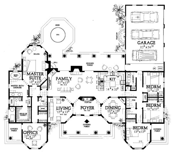 this mediterranean design floor plan is 2831 sq ft and has 4 bedrooms and has 3 bathrooms