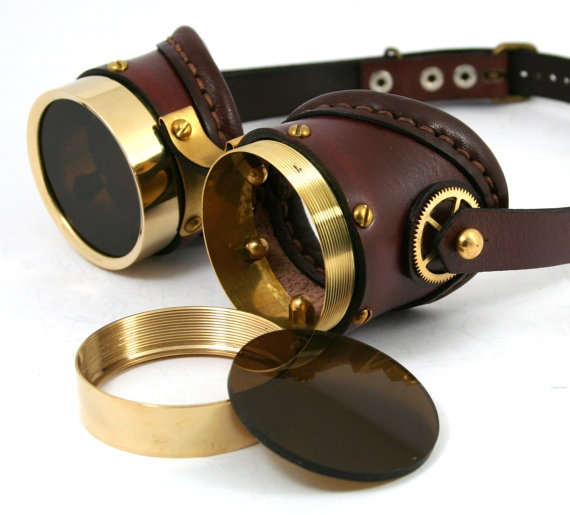 STEAMPUNK GOGGLES made of solid brass brown leather by MannAndCo, $125.00