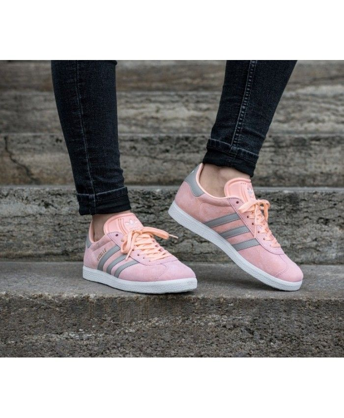 timeless design a573f 5e27d Adidas Gazelle Womens Shoes In Raw Pink Grey