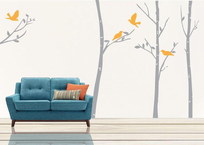 bosque #decoraconvinil #vinilosdecorativos #decoracion #decoratupared #arbol #pajaritos #hojas