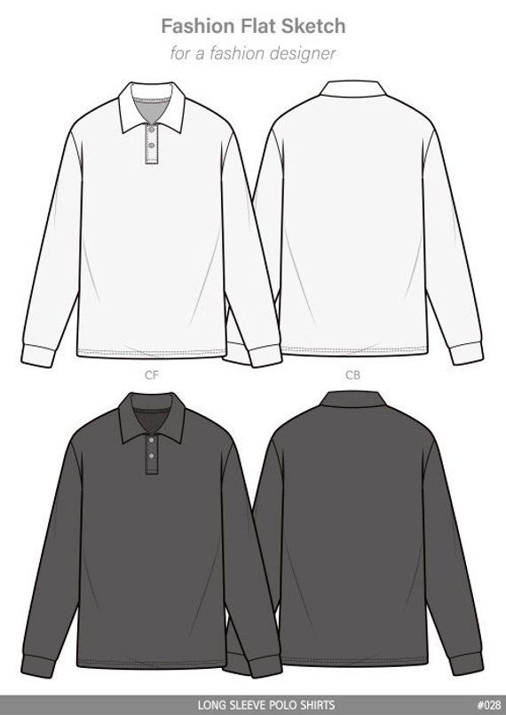 polo shirts fashion flat sketch template in 2019