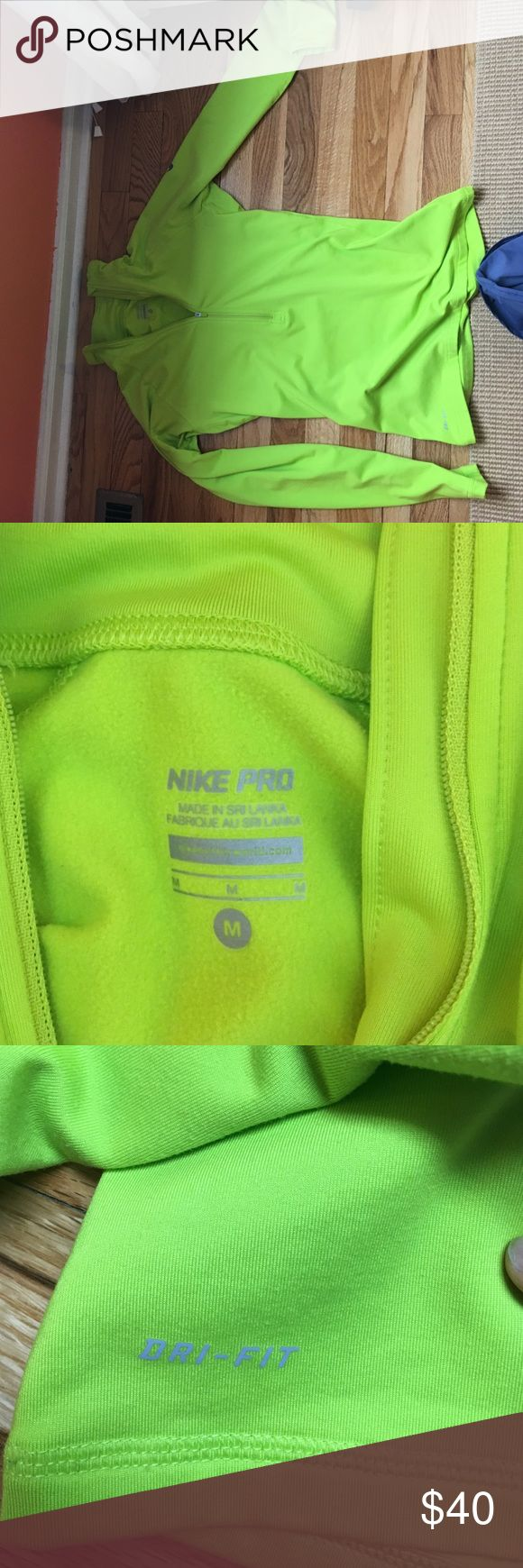 Women's Medium 1/4 Zip, Nike Pro Worn 3 times! very warm and comfortable as a warm-up layer. Neon yellow dri-fit pro Nike Tops
