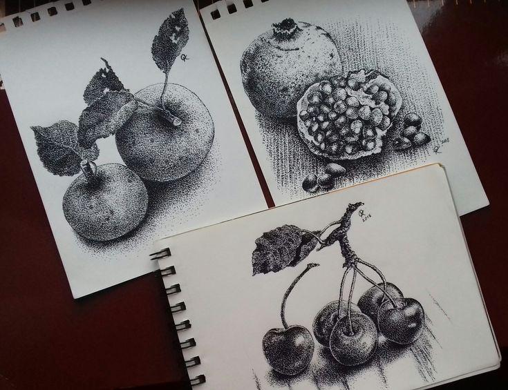 """Olga KOSTENKO   """"Fruit""""_frutas_pomegranate_Cherry_Apple"""