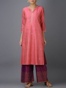 Pink Hand-embroidered Chanderi Kurta with Gota Patti