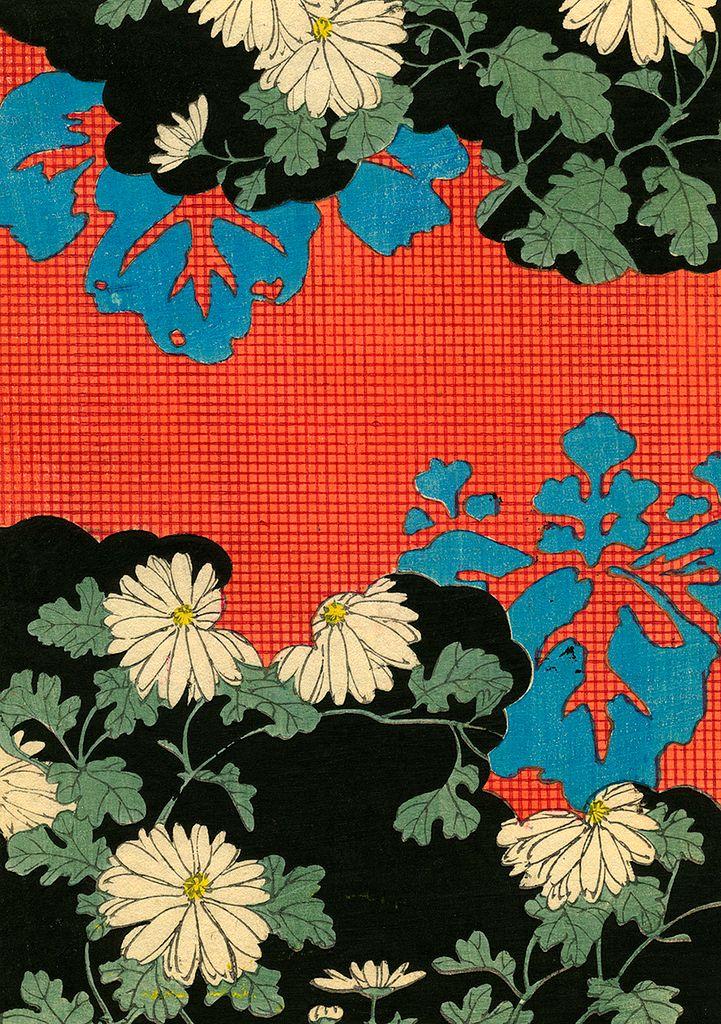 Kimono Pattern with Daisies 1880s, woodblock print
