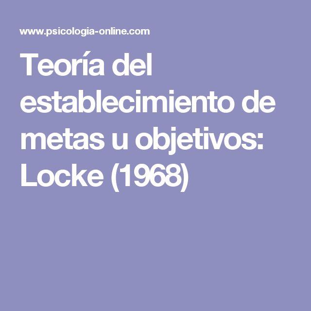 Teoría del establecimiento de metas u objetivos: Locke (1968)